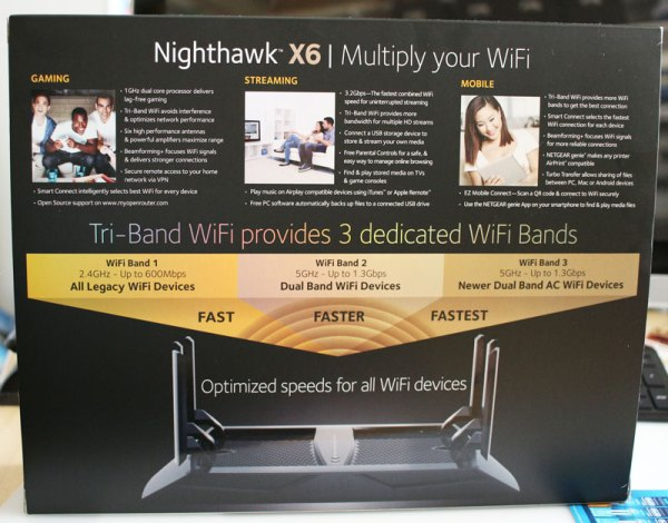 NETGEAR Nighthawk X6 Back of the box