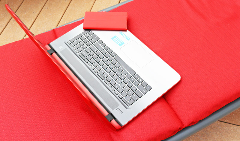 """Bending the summer rules and working outside with my colorful, powerful and simple to use 17"""" HP Pavilion notebook. Avialable only from HSN. Free upgrade to Windows 10 (when available.) #HPHuesOnHSN #Win10 #BendTheRules"""