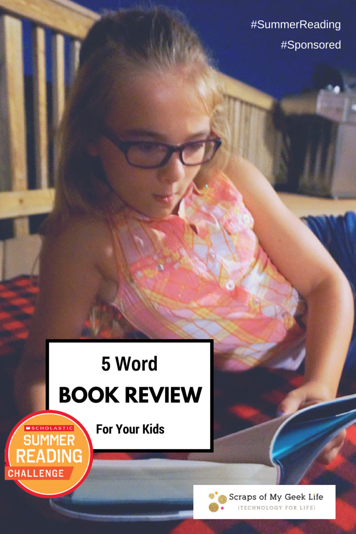 The 5 word book review for kids. As your kids to give you a 5 word book review after finishing a book. It's better than a book report in summer. #SummerReading @Scholastic @Energizer #Spon
