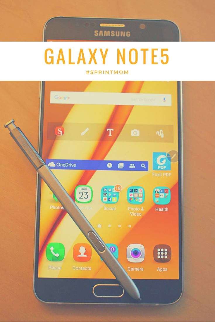 Samsung Galaxy Note5 on Sprint. My favorite features are the rear and front cameras and the S Pen. Both make my life easier. I have an awesome camera with me all the time and I can easily take notes and share. #SprintMom #IC #Sponsored #AD