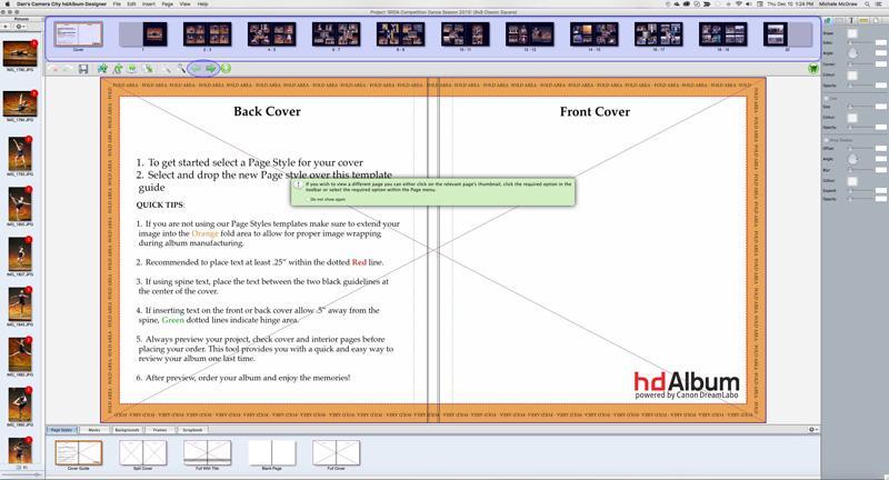 Photo creation software for Canon hdAlbum premium album service