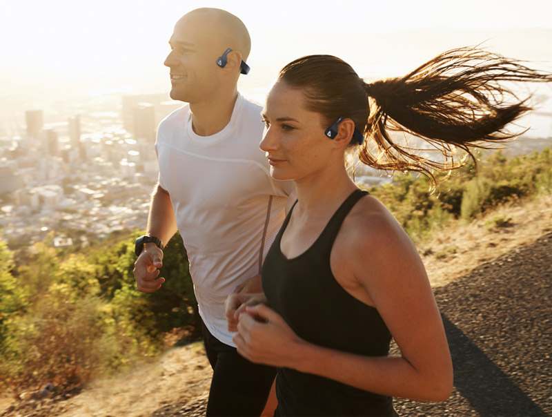 AfterShokz Bluez 2S wireless bone conduction headphones; safe for running; #BeOpen