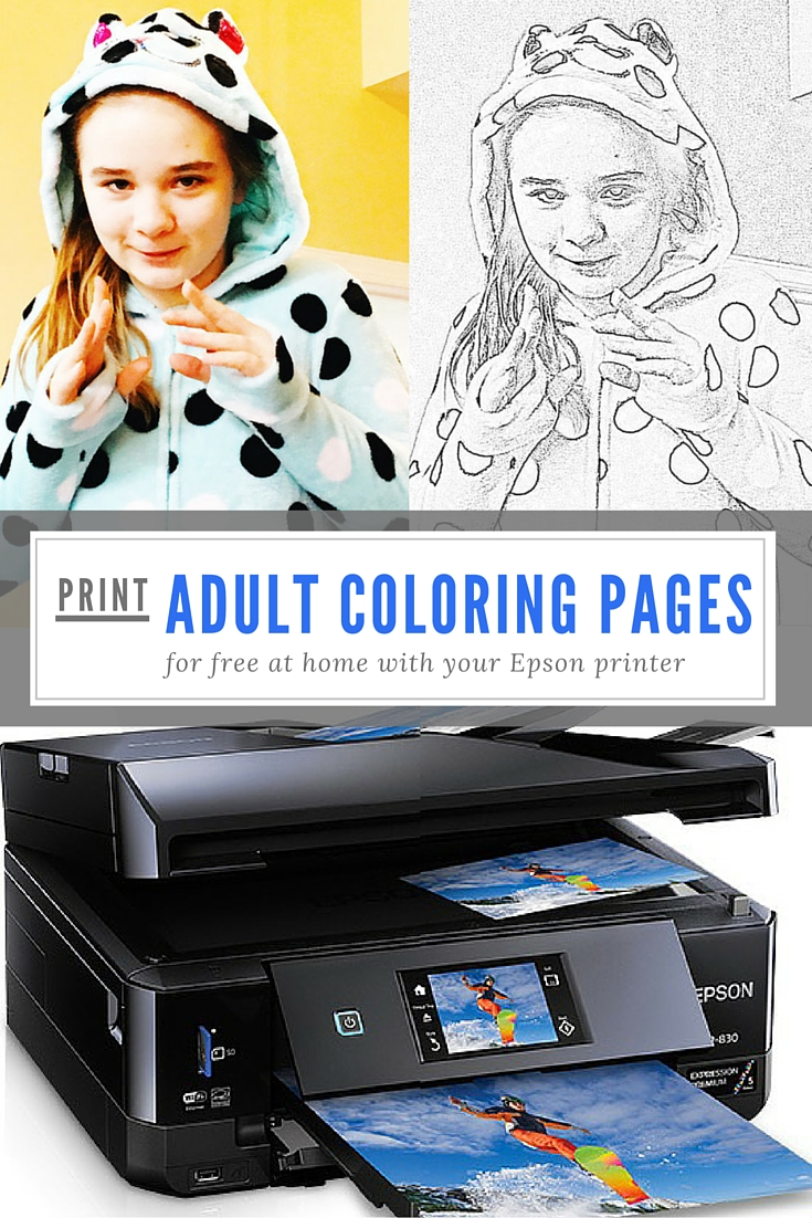 Print adult coloring pages at home for free on your Epson XP-830 printer. Use your own photos to create a coloring book for adults (or kids.)