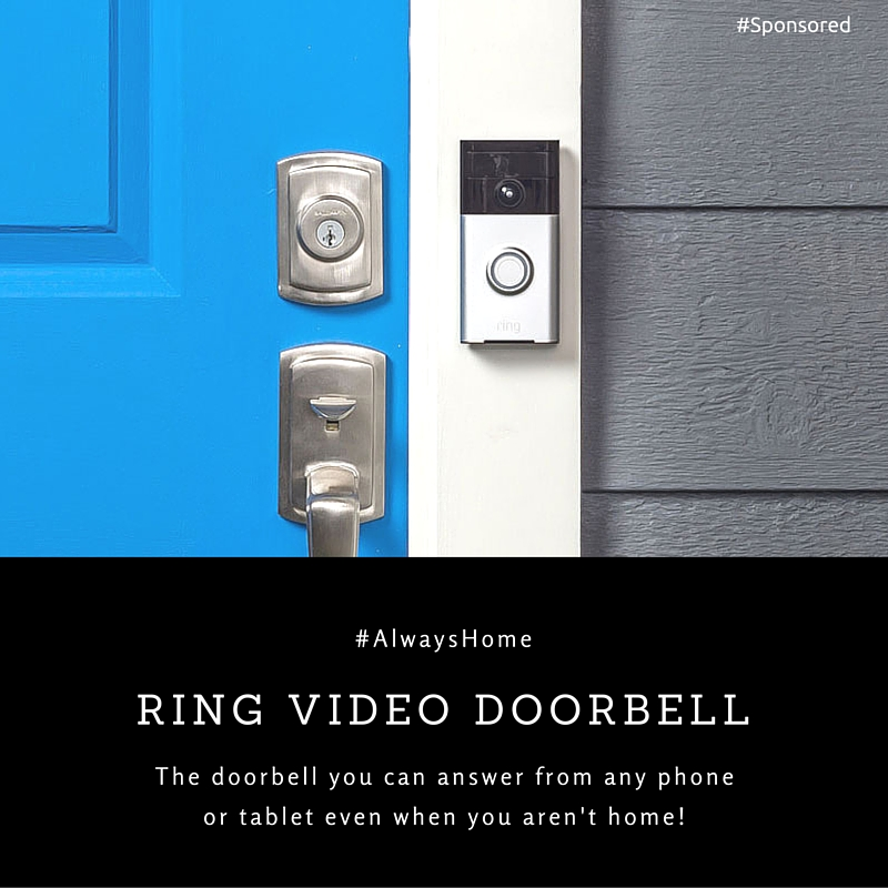 You are #AlwaysHome with the Ring Video Doorbell. Answer your door from your phone or tablet. Gives you peace of mind knowing you are always home.
