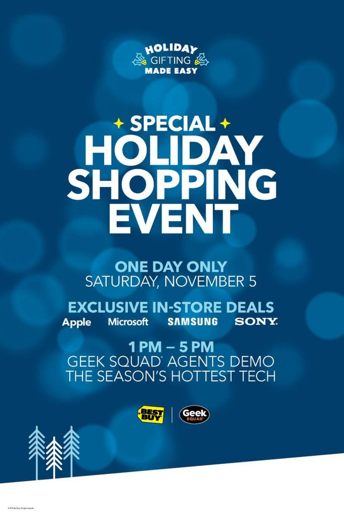 Best Buy holiday shopping event in store on Saturday, November 5th from 1:00 pm to 5:00 pm. #GiftingMadeEasy @BestBuy