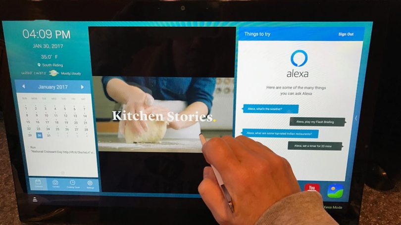 TCL Xess has built-in recipes, calendar and Alexa Voice Services.