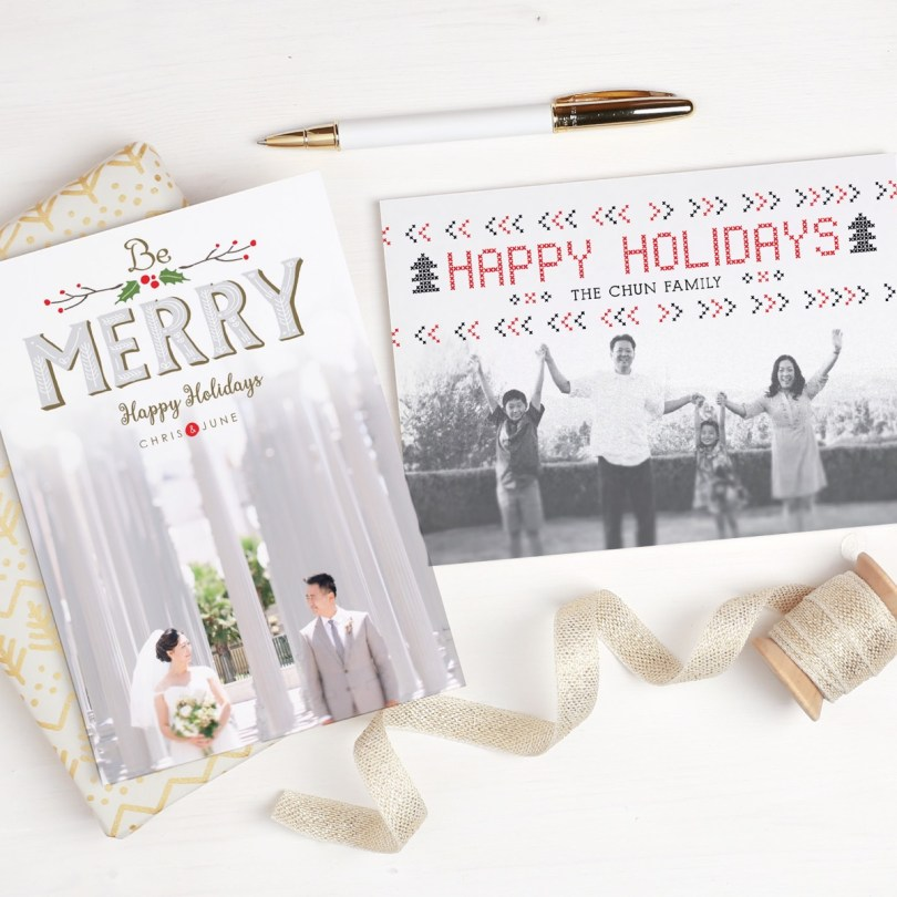 Order holiday cards online from Basic Invite.