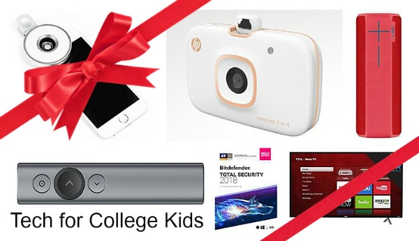 Looking for gifts for your college student? Here is my 2017 Tech for College Kids Gift List. Gifts for fun and some to help them with classes. #GiftList