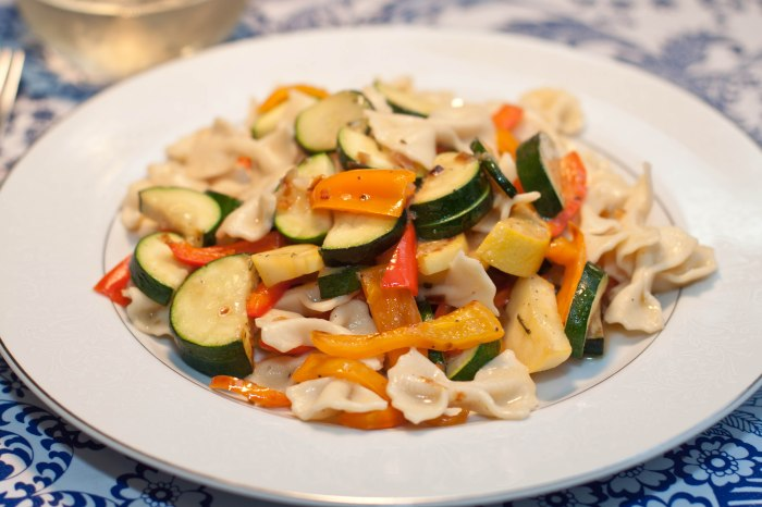 Homemade Farfalle Pasta with summer veggies