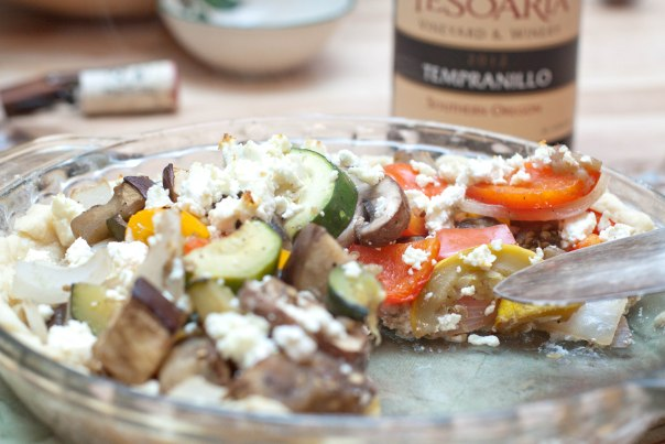 Ratatouille baked into a homemade pie crust and layered with homemade feta cheese!