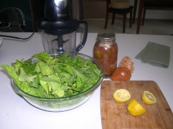 Arugula and Lettuce from my garden. Canned Japanese Black tomatoes and onions from last years garden. Half a lemon, tablespoon of soysauce, 1/8 teaspoon of cyan pepper, and 1 1/2 quart of water.
