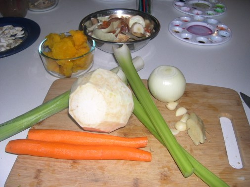 That big white thing is a peeled celery root.