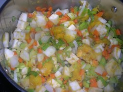 Diced veggies cooked till tender and a bit browned