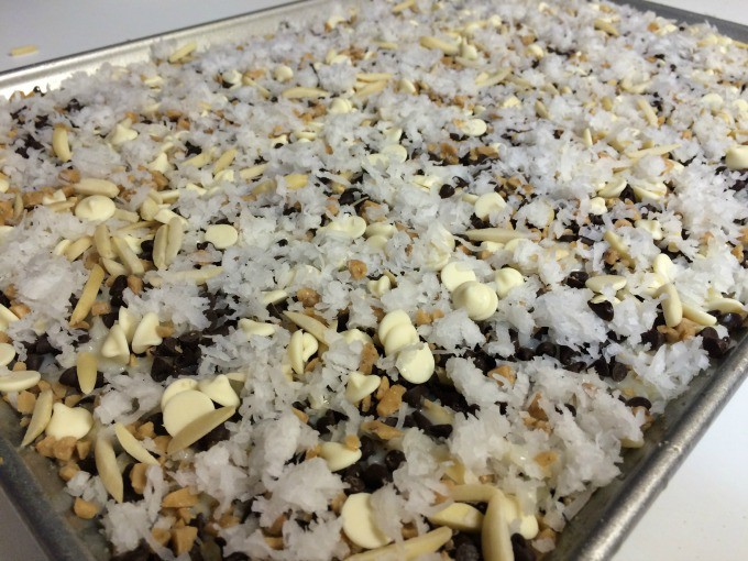 Add the remaining shredded coconut to the top and bake at 350 degrees for 25 to 30 minutes.