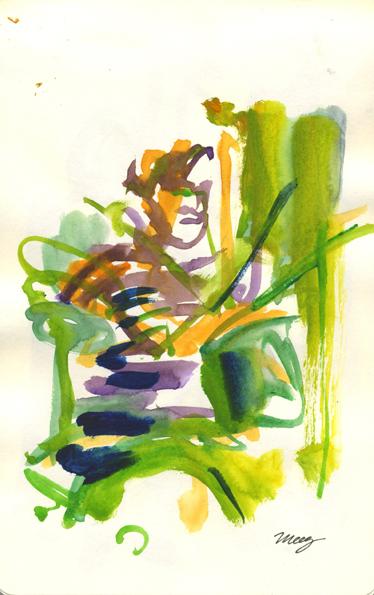 Watercolours and waterbrush pen