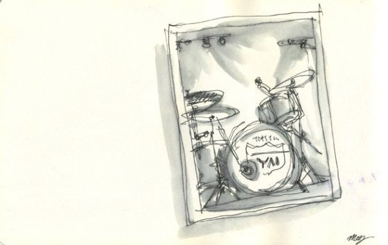 Drawn during halftime –artline pen and waterbrush