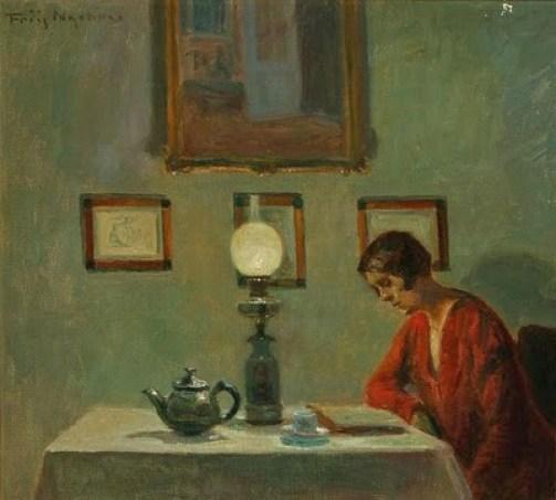 9a em Poul Friis Nybo (Danish artist, 1869-1929) Reading Woman 1929