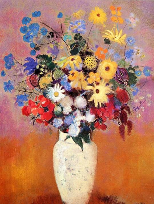 redon White Vase with Flowers dorsay