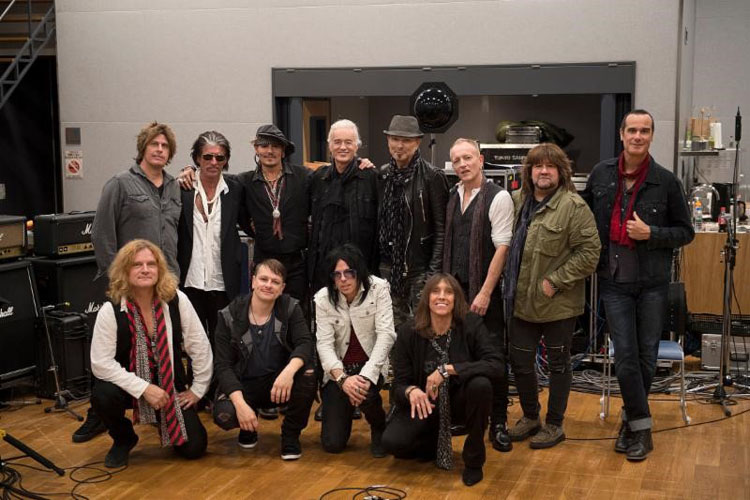 Photo Credit:  Ross Halfin/TeamRock.com   Top, Left to right: Dean DeLeo (STP), Joe Perry (Aerosmith. Hollywood Vampires), Johnny Depp (Hollywood Vampires) Jimmy Page (Led Zeppelin), Rudolph Schenker (Scorpions),  Phil Collen (Def Leppard), Brian Wheat (Tesla), Robert DeLeo (STP and Hollywood Vampires)   Bottom, Left to right: Frank Hannon (Tesla), Ray Luzier (Korn), Tommy Hendriksen (Alice Cooper), Jeff Keith (Tesla)