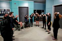 Screech dance troupe warming up for their performance