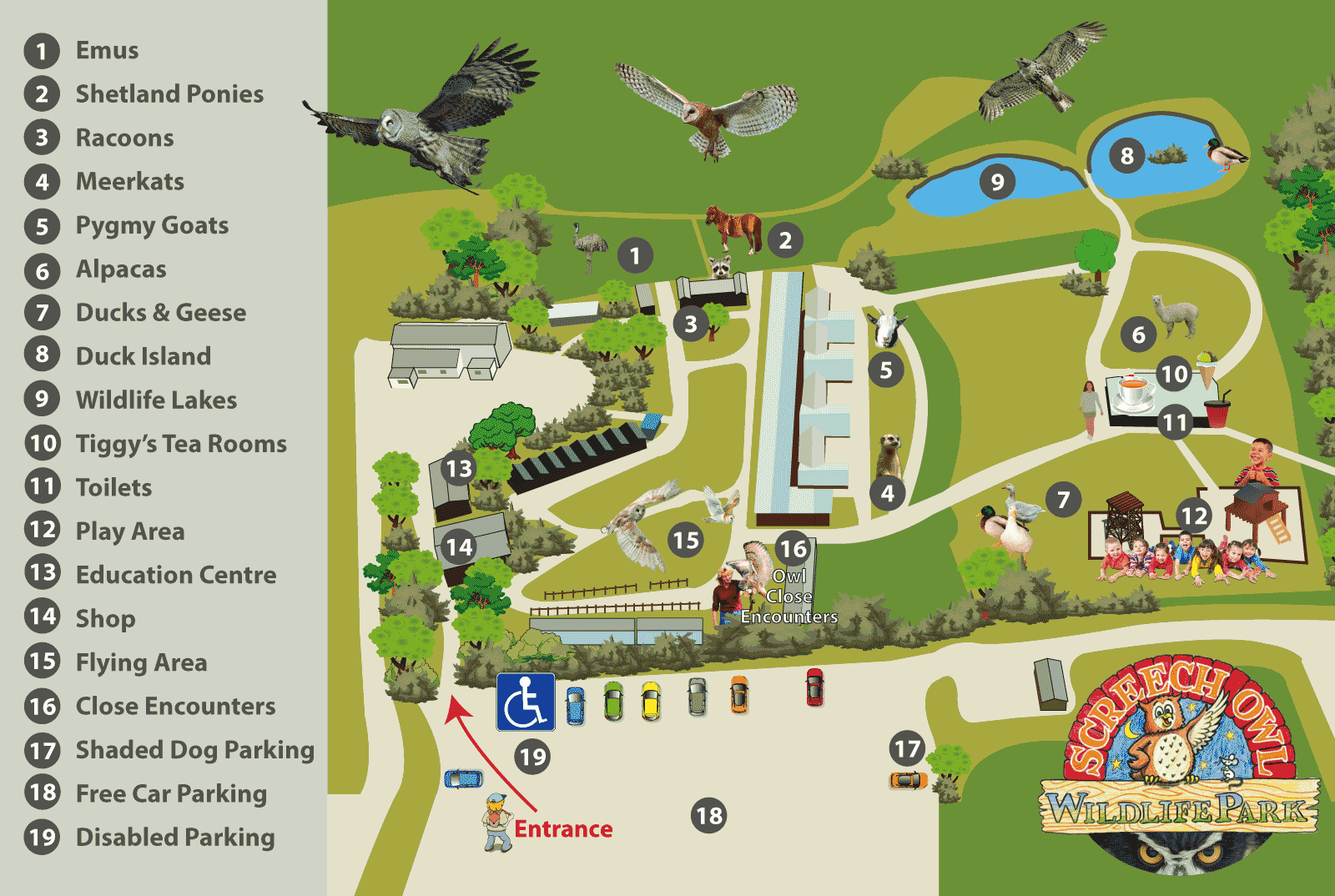 Site map for the Screech Owl Wildlife Park