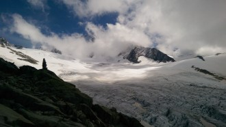 Looking across the Glacier de Tour toward Aiguille du Chardonnet, presently hidden in the clouds.
