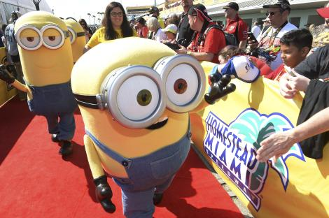 HOMESTEAD, FL - NOVEMBER 22: The Minions at NASCAR Ford Championship Weekend in celebration of theÊMinionsÊon digital HD on November 24 and Blu-ray & DVD on December 8, on November 22, 2015 in Homestead, United States. (Photo by Gustavo Caballero/Getty Images For Universal Pictures Home Entertainment)