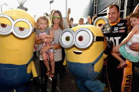 HOMESTEAD, FL - NOVEMBER 22: Ryan Newman and family with the Minions at NASCAR Ford Championship Weekend on November 22, 2015 in Homestead, Florida in celebration of Minions on digital HD on November 24 and Blu-ray & DVD on December 8. (Photo by Gustavo Caballero/Getty Images For Universal Pictures Home Entertainment)
