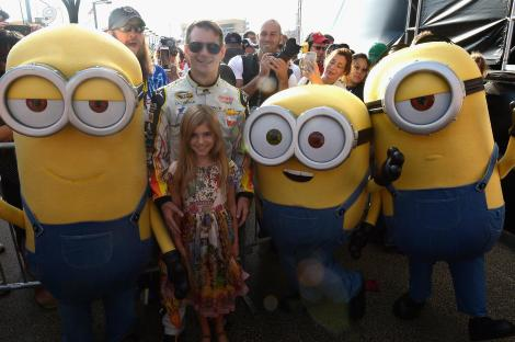 HOMESTEAD, FL - NOVEMBER 22: Jeff Gordon and daughter with the Minions at NASCAR Ford Championship Weekend on November 22, 2015 in Homestead, Florida in celebration of Minions on digital HD on November 24 and Blu-ray & DVD on December 8. (Photo by Gustavo Caballero/Getty Images For Universal Pictures Home Entertainment)