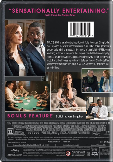 'Molly's Game'; Arrives On Digital March 27 & On Blu-ray & DVD April 10, 2018 From Universal 18