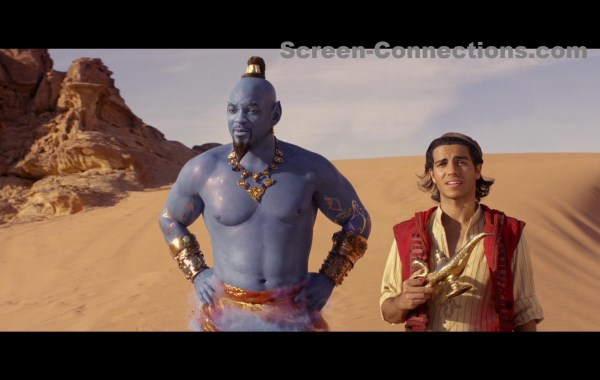 genie and alladin holding lamp in desert