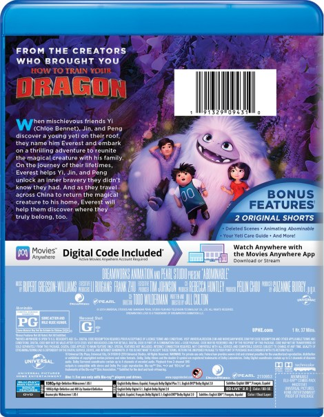Abominable; The Animated Film Arrives On Digital December 3 & On 4K Ultra HD, Blu-ray & DVD December 17, 2019 From Universal 18