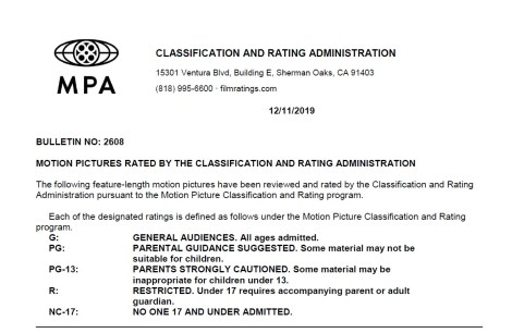 CARA/MPA Film Ratings BULLETIN For 12/11/19; Official MPA Ratings & Rating Reasons For 'Downhill', 'Escape From Pretoria' & More 2