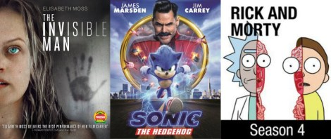 DEG Watched At Home Top 20 List 06/04/20, Rick and Morty Season 4, The Invisible Man and Sonic the Hedgehog image