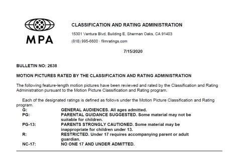 CARA/MPA Film Ratings BULLETIN For 07/15/20; MPA Ratings & Rating Reasons For 'The King's Man', 'The Boys In The Band' & More 2