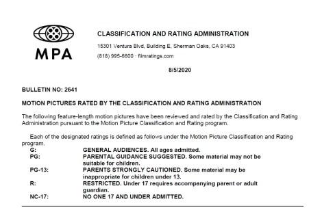 CARA/MPA Film Ratings BULLETIN For 08/05/20; MPA Ratings & Rating Reasons For 'Hillbilly Elegy', 'Jiu Jitsu', 'Tremors: Shrieker Island' & More 2