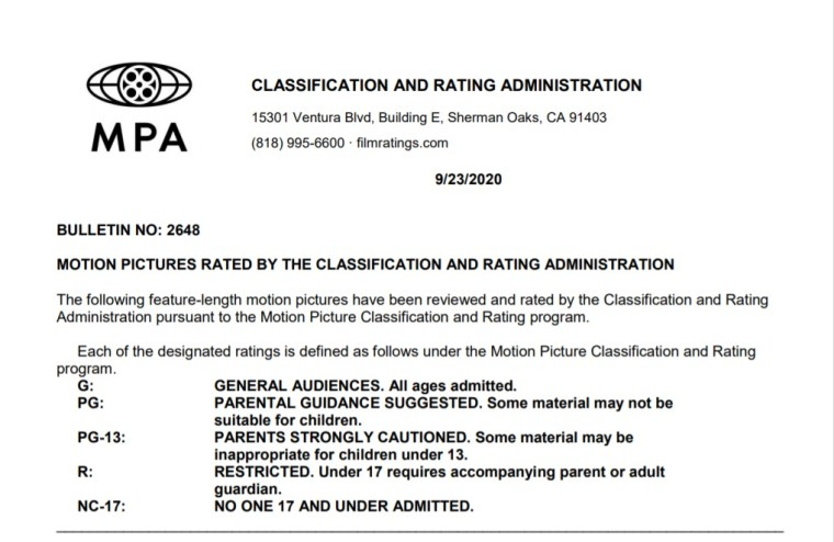 CARA/MPA Film Ratings BULLETIN For 09/23/20; MPA Ratings & Rating Reasons For 'In The Heights', 'Godmothered' & More 8