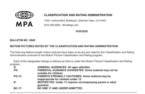 CARA/MPA Film Ratings BULLETIN For 09/30/20; MPA Ratings & Rating Reasons For 'Fatman', 'Concrete Cowboy' & More 2