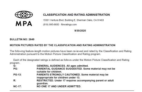 CARA/MPA Film Ratings BULLETIN For 09/30/20; MPA Ratings & Rating Reasons For 'Fatman', 'Concrete Cowboy' & More 8
