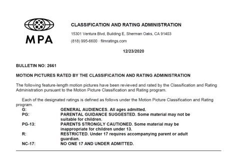 CARA/MPA Film Ratings BULLETIN For 12/23/20; MPA Ratings & Rating Reasons For 'Raya And The Last Dragon', 'Locked Down', 'Falling' & More 2