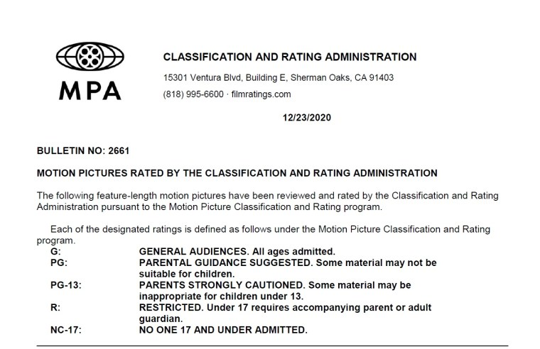 CARA/MPA Film Ratings BULLETIN For 12/23/20; MPA Ratings & Rating Reasons For 'Raya And The Last Dragon', 'Locked Down', 'Falling' & More 9