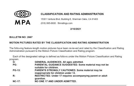 CARA/MPA Film Ratings BULLETIN For 02/10/21; MPA Ratings & Rating Reasons For 'Respect', 'Spirit Untamed' & More 2