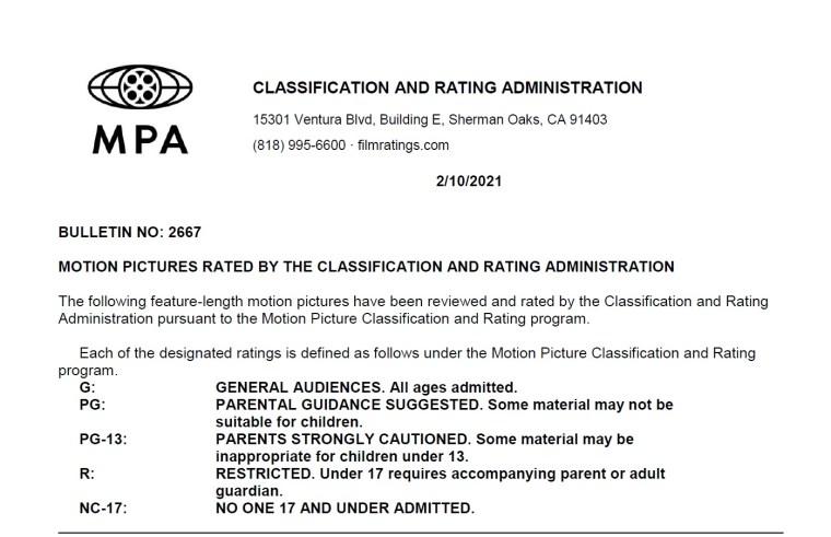 CARA/MPA Film Ratings BULLETIN For 02/10/21; MPA Ratings & Rating Reasons For 'Respect', 'Spirit Untamed' & More 7