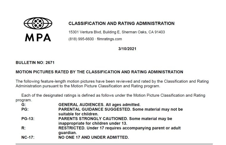 CARA/MPA Film Ratings BULLETIN For 03/10/21; MPA Ratings & Rating Reasons For 'Mortal Kombat', 'The Unholy' & More 8