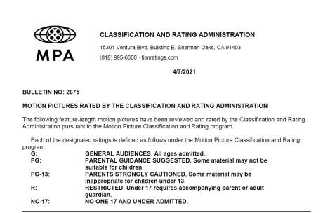 CARA/MPA Film Ratings BULLETIN For 04/07/21; MPA Ratings & Rating Reasons For 'Black Widow', 'The Tomorrow War' & More 2