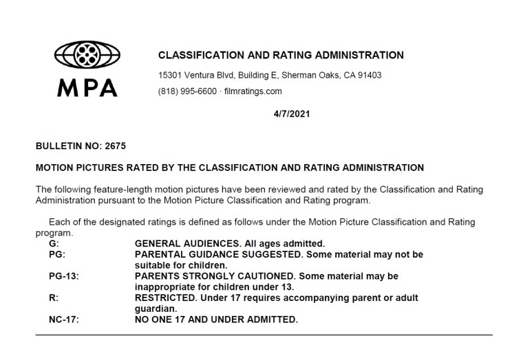 CARA/MPA Film Ratings BULLETIN For 04/07/21; MPA Ratings & Rating Reasons For 'Black Widow', 'The Tomorrow War' & More 8