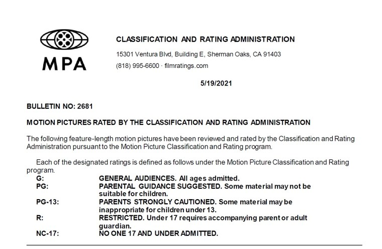CARA/MPA Film Ratings BULLETIN For 05/19/21; MPA Ratings & Rating Reasons For 'Don't Breathe 2', 'Jungle Cruise', 'Stillwater' & More 8
