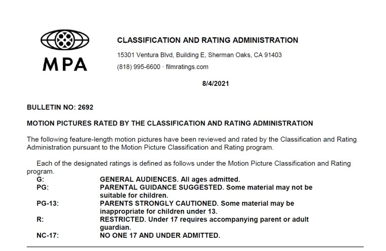 CARA/MPA Film Ratings BULLETIN For 08/04/21; MPA Ratings & Rating Reasons For 'Rumble', 'Injustice', 'She Ball' & More 7