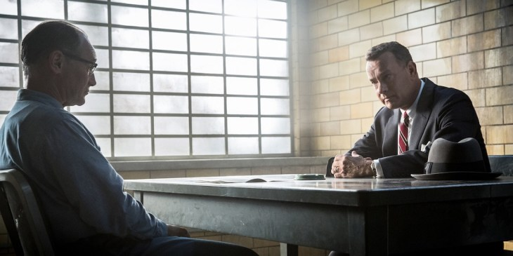 """In this image released by Disney, Mark Rylance, left, and Tom Hanks appear in a scene from """"Bridge of Spies."""" (Jaap Buitendijk/DreamWorks Pictures/Fox 2000 PIctures via AP)"""