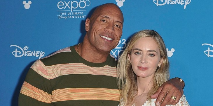 Mandatory Credit: Photo by Richard Shotwell/Invision/AP/Shutterstock (10371225u)<br /> Dwayne Johnson, Emily Blunt. Dwayne Johnson, left, and Emily Blunt attend the Go Behind the Scenes with the Walt Disney Studios press line at the 2019 D23 Expo, in Anaheim, Calif<br /> 2019 D23 Expo - Day 2, Anaheim, USA - 24 Aug 2019